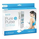 PurePulse Electronic Pulse Massager - Portable, Handheld TENS Unit Muscle Stimulator for Pain Management - Treats Tired and Sore Muscles in Your Shoulders, Neck, Back, Waist, Legs, and More