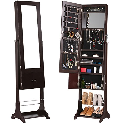 langria free standing lockable jewelry cabinet full length