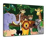 """Bilderdepot24 Keilrahmenbild """"Kinderbild Wilde Tiere im Dschungel Cartoon"""" – 120×90 cm 1 teilig – fertig gerahmt, direkt vom Hersteller"""
