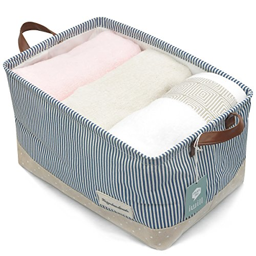 Organizing Baskets for Clothing Storage - Storage Baskets Made From Eco-friendly Cotton. Works As Fabric Drawer, Baby Storage, Toy Storage. Nursery Baskets Fit Most Shelves (Navy Blue, L) (Baby Fabric Baskets compare prices)
