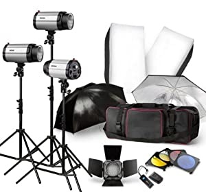 Neewer 900W Strobe Studio Flash Light Kit - Photographic Lighting - Strobes, Barn Doors, Light Stands, Triggers, Umbrellas, Soft Box & More!