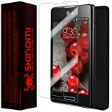 Skinomi TechSkin - LG Optimus L5 II Screen Protector Ultra Clear Shield + Black Carbon Fiber Full Body Protective Skin + Lifetime Warranty