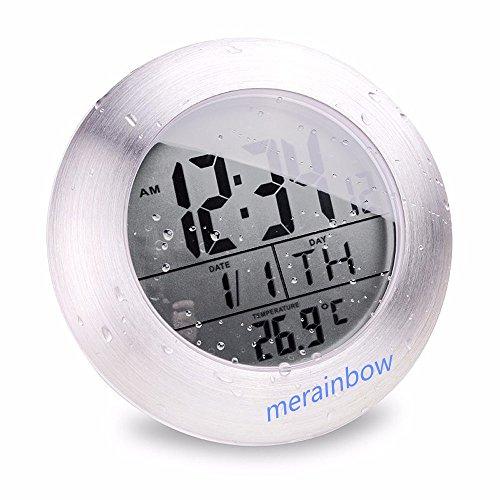 merainbow imperméable salle de bain cuisine Horloge numérique avec thermomètre numérique/ventouse, trou de suspension et support de table