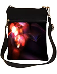 Snoogg Glowing Lines And Circles Cross Body Tote Bag / Shoulder Sling Carry Bag