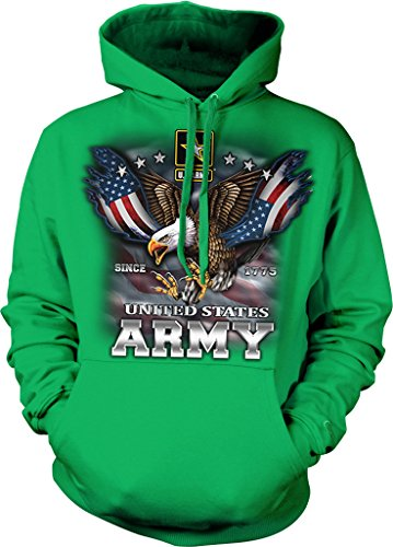 US Army, Since 1775, Eagle with American Flag Wings Hooded Sweatshirt, NOFO Clothing Co. XXL Kelly