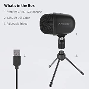 Avantree 3001 USB Condenser Microphone with Live Monitoring for Desktop Computer, Laptop, MAC or Windows PC Recording Streaming Podcasting Skype Gaming, 3.5mm Audio Output, Tripod Stand [24M Warranty] (Color: Black - USB Condenser Microphone)