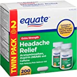 Extra Strength Headache Relief Twin Pack, 200ct, By Equate, Compare to Excedrin Extra Strength Caplets