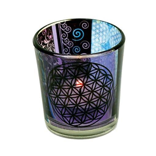 Votiv-und-Teelichtglas-6x5cm-Verschiedene-Varianten-Blume-des-Lebens