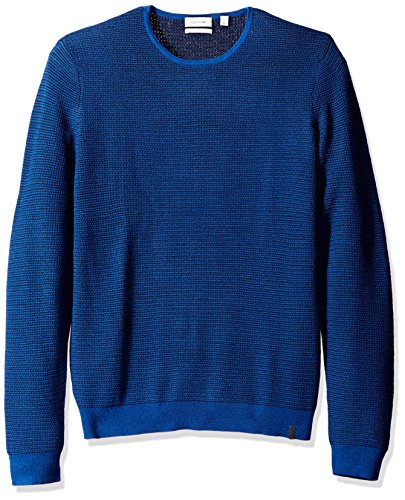 Calvin Klein Men's Merino Ribbed Crew Neck Sweater, Blue Combo, 2XL