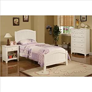 Poundex 3 Piece Kids Twin Size Bedroom Set In White Finish Kitchen Dining