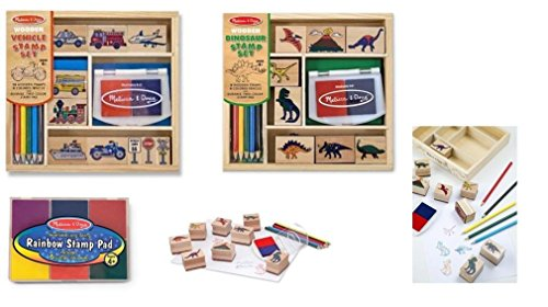 Melissa & Doug Wooden Stamp Set Bundle - Vehicle And Dinosaur Stamp With Bonus Rainbow Stamp Pad back-351849