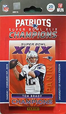 New England Patriots 2014 Panini Super Bowl XLIX Champions Limited Edition Factory Sealed 25 Card Team Set with First Malcolm Butler Rookie Year Card, 3 Tom Brady Cards, Super Bowl Moments Cards and More