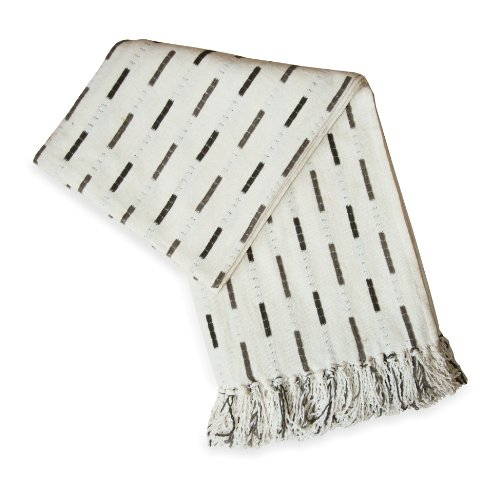 Jovi Home City Chenille Hand Woven Throw 50-Inch-By-60-Inch, Natural (Ivory With Charcoal And Brown Accents)
