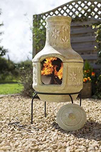 Large Clay Flowers Pizza Chiminea Chimenea With Bbq Grill