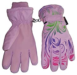 N'Ice Caps Little And Big Girls Ombre Shaded Scroll Print Ski Gloves (8-9yrs, pink/lavender/neon green/neon purple/neon pink)