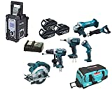 Makita 18V LXT Li Ion LXT600 6 Piece Kit And BMR103B Black Job Site Radio