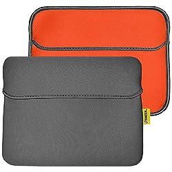 Amzer 94870 10.6 inch Reversible Neoprene Horizontal Sleeve with Pocket - Slate Grey/Burnt Orange