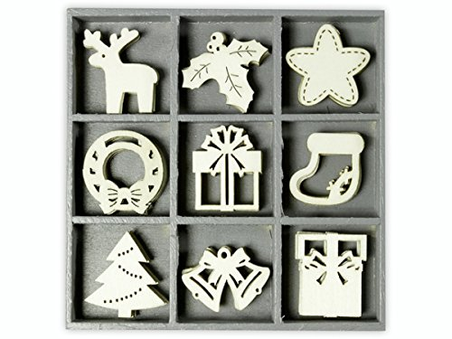 cArt-Us 10.5 x 10.5 cm Wooden Box Containing 45 Wooden Christmas Embellishments