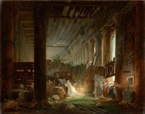 'A Hermit Praying In The Ruins Of A Roman Temple, About 1760 By Hubert Robert' Oil Painting, 10x13 Inch / 25x32 Cm ,printed On Perfect Effect Canvas ,this Best Price Art Decorative Prints On Canvas Is Perfectly Suitalbe For Garage Decoration And Home Decoration And Gifts