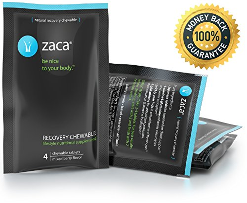 Zaca Recovery Chewable Supplement | Remedy for Hangovers, Exercise, Travel & Altitude | Vegan & Gluten Free | Mixed Berry, 4 Packs = 16 Tablets