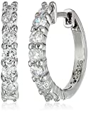 Sterling Silver and Cubic Zirconia Hoop Earrings (0.7 cttw)