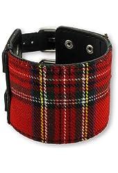 Black and Red Tartan Plaid Double Buckle Bracelet Wristband