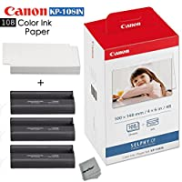 Canon Selphy CP1200 Wireless Color Photo Printer + Canon KP-108IN Color Ink Paper Set