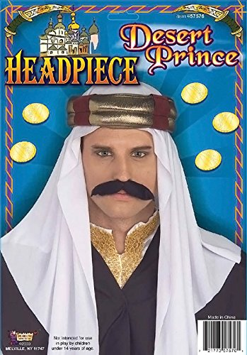 White Arab Arabian Sheik Headpiece Dress Fancy Dress Costume Party Accessory