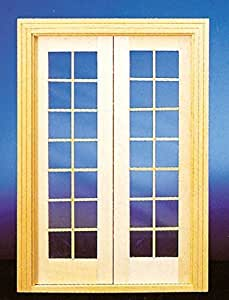 Dollhouse Miniature Double French Doors For Interior Or Exterior By Superior Dollhouse