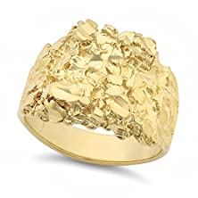 buy Men'S 14K Gold Plated Large Classic Chunky Nugget Ring - Size 9
