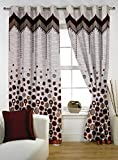 Story@Home 1 PC Jacquard Eyelet Window Curtain Rintop, 5 ft Red