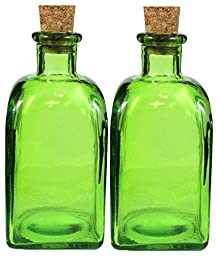 Set of 2, 8oz Square Green Bottle with Cork, Glass Oil Storage Bottle