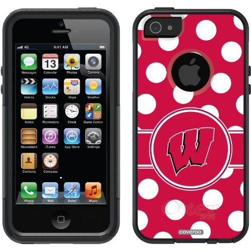 Great Sale University of Wisconsin Polka Dots design on a Black OtterBox® Commuter Series® Case for iPhone 5s / 5
