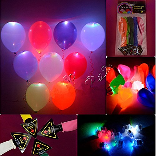 Nsstar Funning Led Light Up Balloons Colorful Party Pack (10Pcs)