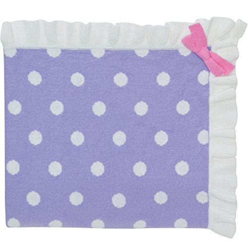 "Elegant Baby 100% Cotton Sweater Knit Blanket, Purple with Polka Dots and Pink Ribbon Accent, 30"" X 40"" - 1"