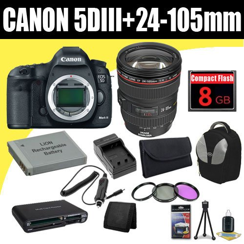 Canon EOS 5D Mark III 22.3 MP Full Frame CMOS with 1080p Full-HD Video Mode Digital SLR Camera w/ EF 24-105mm f/4 L IS USM Lens + LP-E6 Replacement Lithium Ion Battery + External Rapid Charger + 8GB Compact Flash Memory Card + 72mm 3 Piece Filter Kit + Backpack + SDHC Card USB Reader + Memory Card Wallet + Deluxe Starter Kit Deluxe Accessory Kit