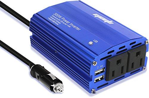 EPAuto 300W Car Power Inverter DC 12V to 110V AC Converter with Dual USB Charger (Power Inverters Ac To Dc compare prices)