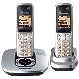 "Panasonic KX-TG6422GS schnurloses DECT-Telefon Duo mit Anrufbeantworter silbervon ""Panasonic"""
