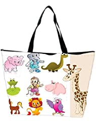 Snoogg Set Of Animal With Background Waterproof Bag Made Of High Strength Nylon