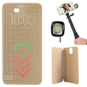 DMG Dot View Interactive Flip Cover Case for HTC One E9 Plus (Gold) + 3.5mm Continuous LED Spotlight Flash
