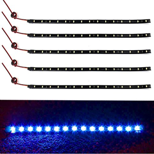 Iuhan® Fashion New 5 x 15 LED 12V 30cm Car Motor Vehicle Flexible Waterproof Strip Light Blue (Usb Blue Light Strip compare prices)