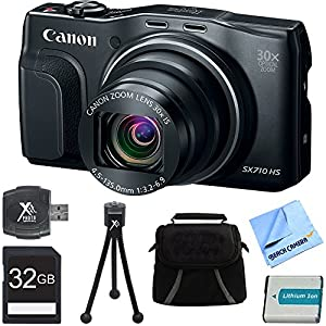Canon PowerShot SX710 HS 20.3MP 30x Opt Zoom Digital Camera Black 32GB Bundle - Includes 32GB Memory Card, Gadget Bag, Battery Pack, Card Reader, Mini Tripod, and Beach Camera Cleaning Cloth