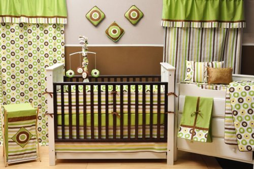 Mod Dots/Stripes Green/choco 10 PC Crib Set