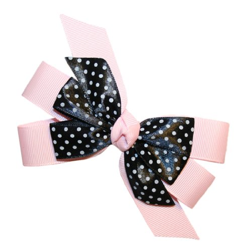 Webb Direct 2U Girls Pink & Black Dotted Grosgrain Hair Bow French Clip (5235Fc) front-788322