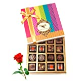 Valentine Chocholik's Belgium Chocolates - Delectable Collection Chocolates And Truffle With Red Rose