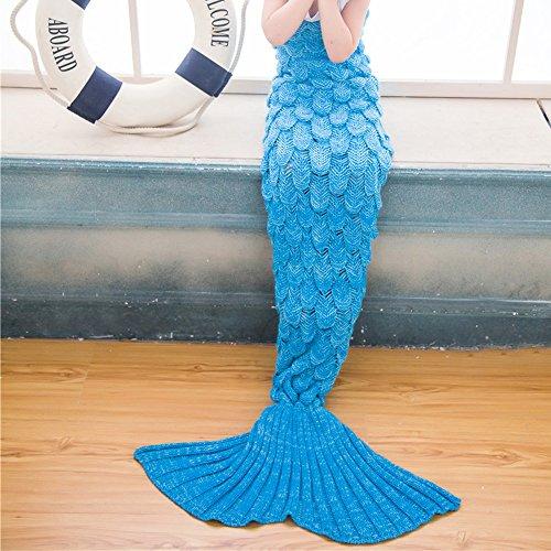Kinder Meerjungfrau Decke Strickmuster Schuppe-Stil Fischschwanz Schlafdecke Mermaid Blanket thumbnail