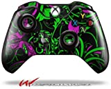 Twisted Garden Green and Hot Pink - Decal Style Skin fits Microsoft XBOX One Wireless Controller