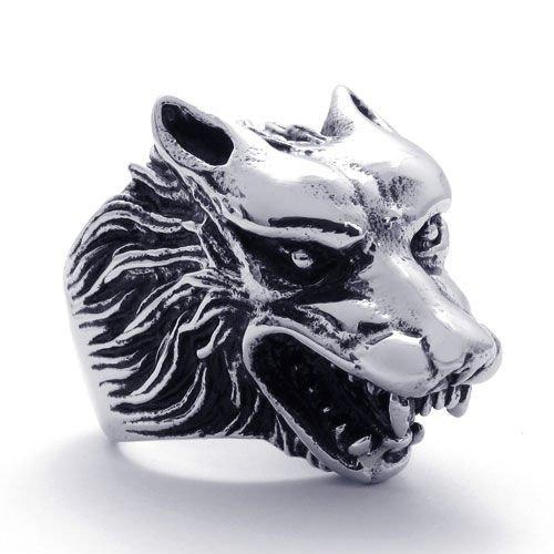 (キチシュウ)Aooazジュエリー メンズステンレスリング指輪 ウルフ オオカミ 狼のヘッド アニマルデザイン ブラックとシルバー 高品質のアクセサリー 日本サイズ17号(USサイズ8号)
