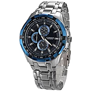 Blue Round Dial Stainless Steel Band Tachymeter Sport Quartz Watch