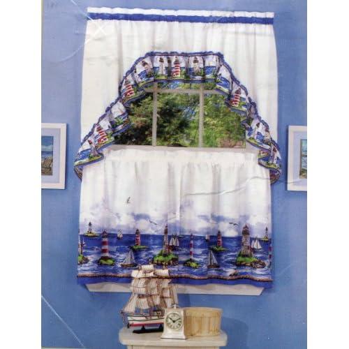 & Sailboat Theme Tier & Swag Curtain Set - Window Treatment Curtains